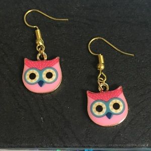 Cute pink owl earrings
